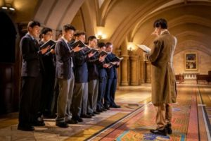 St Marys Cathedral Catholic College Sydney students at choir practice