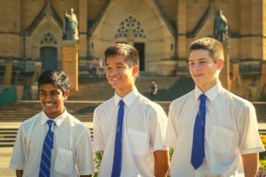 St Marys Cathedral Catholic College Sydney - students standing in front of St Mary's Cathedral