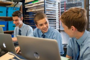 St Marys Cathedral Catholic College Sydney students with their mac books