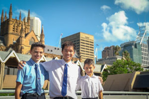 St-Mary's-Cathedral-Catholic-College-Sydney-students standing in front of Cathedral Building at the Domain