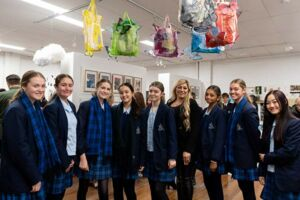 Marist Sisters' College Woolwich students with their Clancy Prize artworkheir artwork